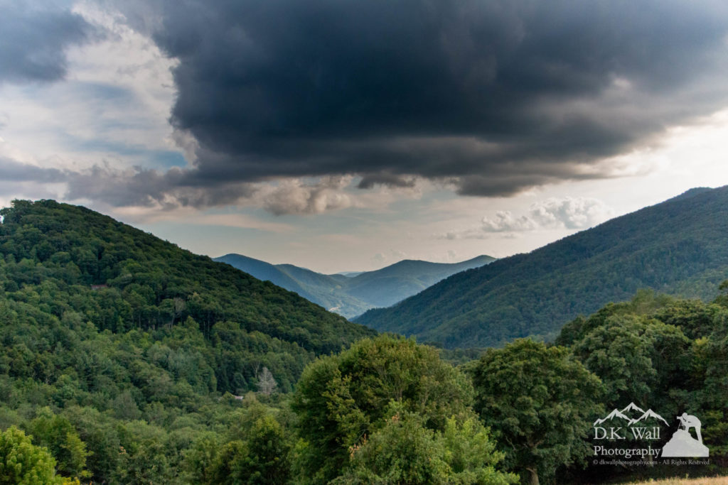 Storm brewing over Soco Gap.
