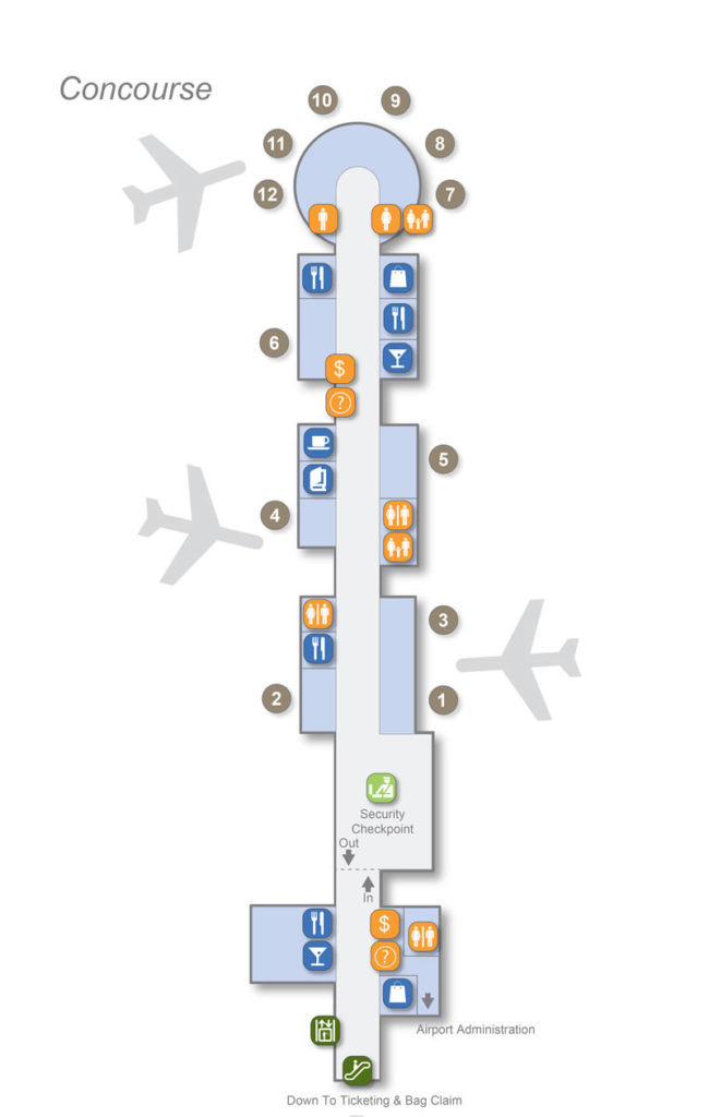 An official terminal map of the Little Rock Airport.