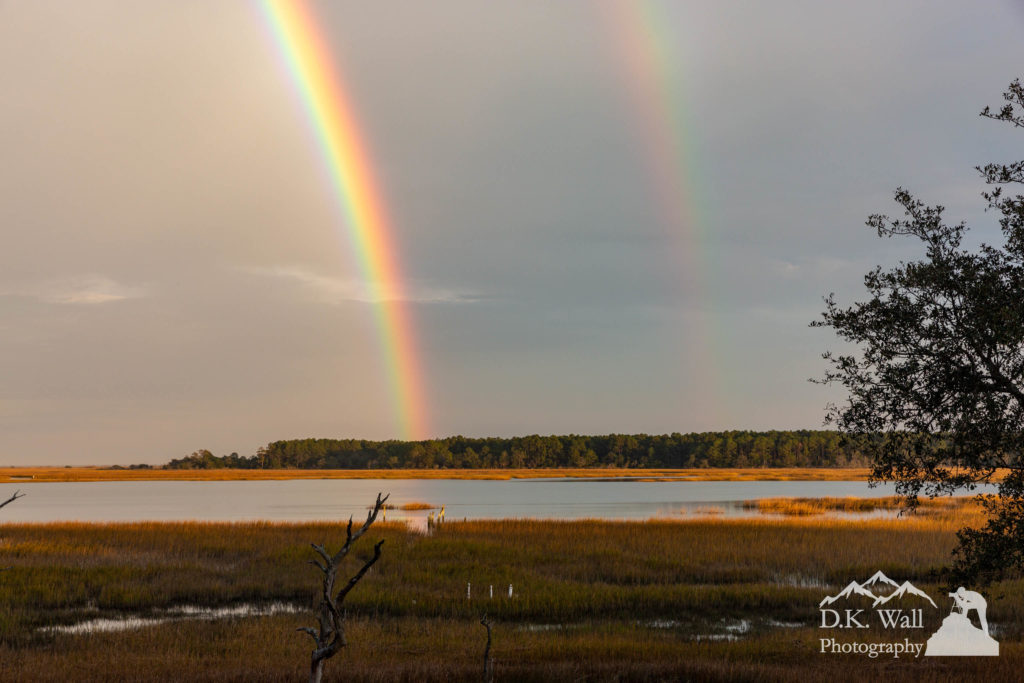 Double Rainbow over Huntington Beach State Park viewed from the back deck.