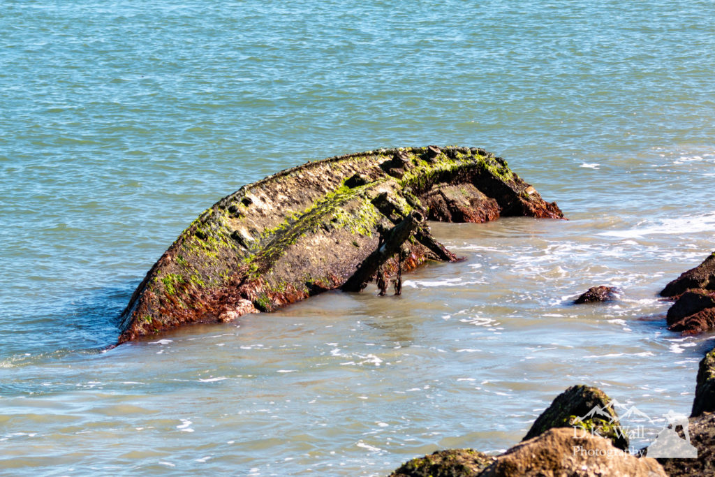 Low tide exposed this shipwreck of a sailing boat along the Murrells Inlet jetty.