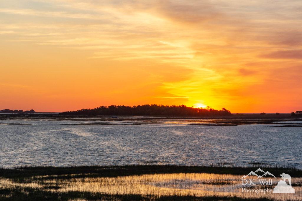 A fiery sunrise over Drunken Jack Island