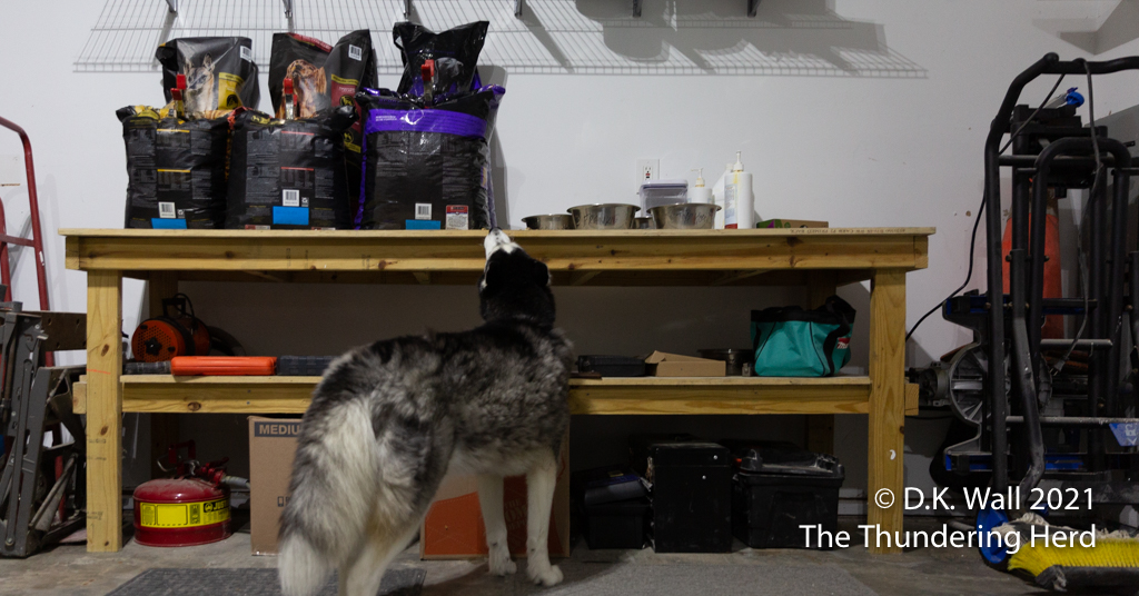 Landon inventories the important supplies on the workbench