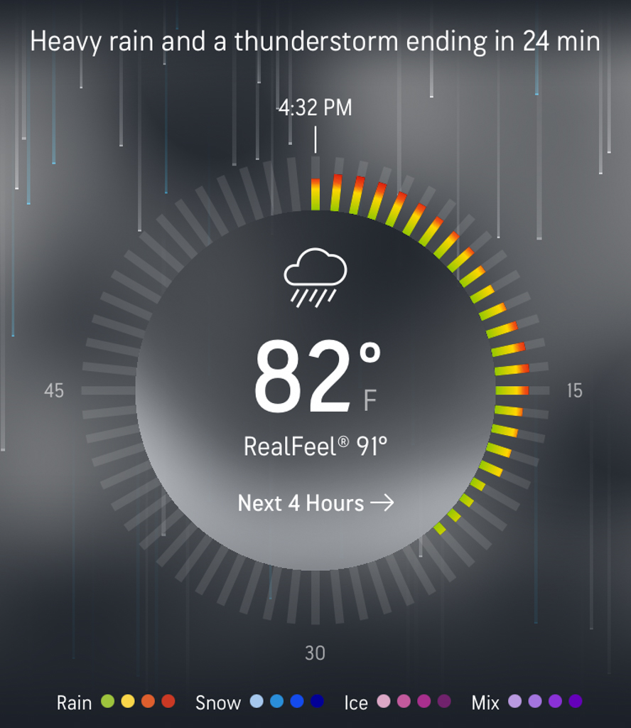 Heavy rain and thunderstorm ending in 24 minutes